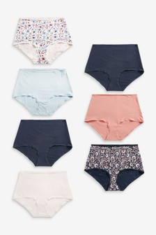 Navy/Pink/Floral Cotton Blend Knickers 7 Pack