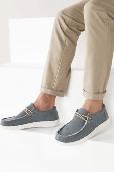 Blue Relaxed Fray Loafers