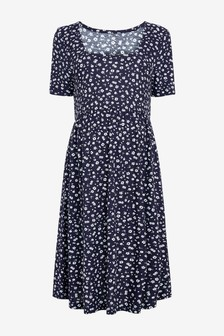 Navy Floral Maternity Crepe Dress