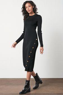 Black Long Sleeve Button Detail Rib Dress
