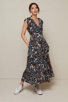 Black Floral V-Neck Shoulder Pad Midi Dress