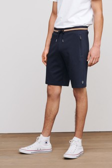 Navy Tipped Zip Pocket Jersey Shorts