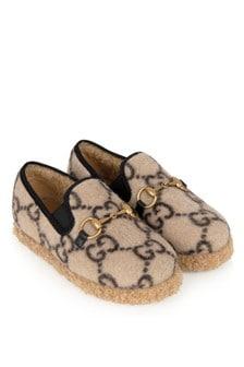 GUCCI Kids Beige GG Wool Loafers
