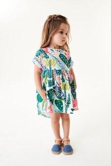 Teal Tropical Cotton Jersey Dress (3mths-7yrs)