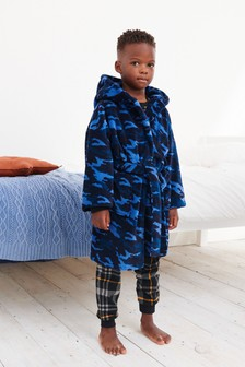 Blue Camouflage Soft Touch Fleece Dressing Gown (1.5-16yrs)