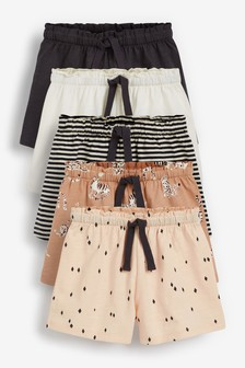 Neutral Character 5 Pack Shorts (3mths-7yrs)