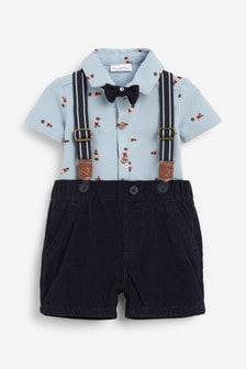Navy Smart Shirt Bodysuit, Shorts And Sock Set (0mths-3yrs)