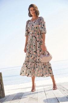 Multi Off Shoulder Tiered Maxi Dress