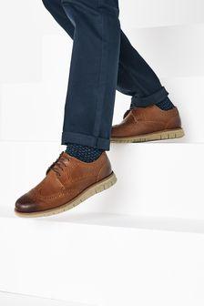Tan Leather Motion Flex Brogue Shoes