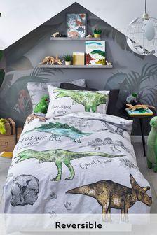 Grey Grey 100% Cotton Dino Land Reversible Duvet Cover and Pillowcase Set