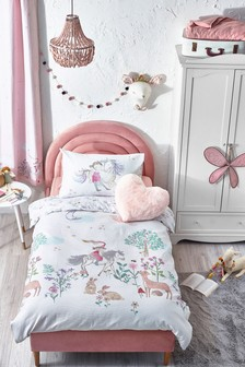 White White 100% Cotton Waffle Story Book Woodland Duvet Cover And Pillowcase Set