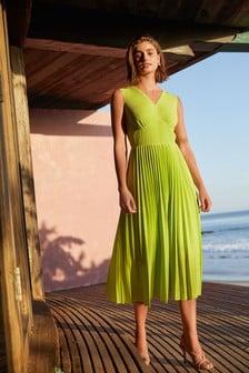 Lime Pleated Sleeveless Midi Dress