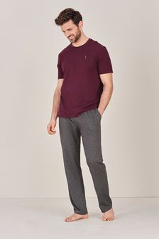 Burgundy/Grey Jersey Pyjama Set