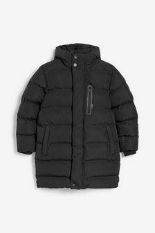 Black Longline Padded Jacket (3-17yrs)