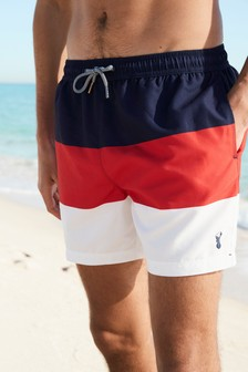 Red/Navy/White Colourblock Swim Shorts