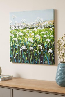 Green Artist Collection 'Cow Parsley' Canvas by Janet Bell