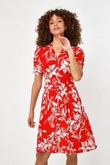 Red Floral Button Shirt Dress