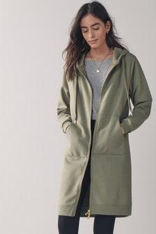Khaki Zip Through Longline Jacket