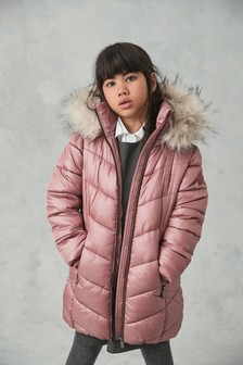 Pink Faux Fur Trim Shower Resistant Padded Coat (3-16yrs)