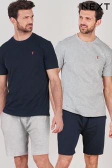 Navy/Grey Pyjama Sets 2 Pack