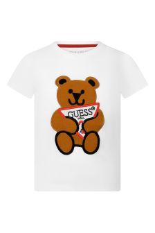 Guess Boys White Cotton Bear T-Shirt