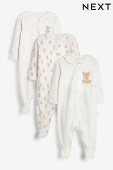 Tan Bear 3 Pack Delicate Appliqué Sleepsuits (0-2yrs)