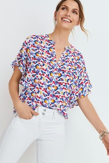 Multi Fruit Printed Ruffle Sleeve Blouse