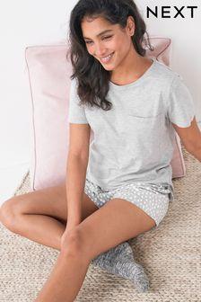 Grey Spot Cotton Blend Pyjamas