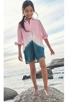 Pink/Navy Beach Shirt Cover-Up