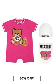 Moschino Kids Baby Girls Pink Cotton Romper Gift Set