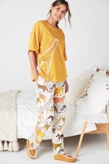 Ochre Giraffe Cotton Pyjamas