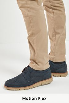 Navy Blue Leather Motion Flex Brogue Shoes