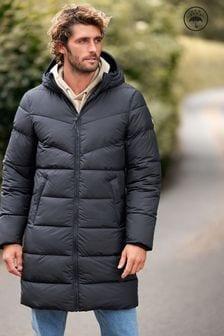 Black Shower Resistant Longline Hooded Jacket