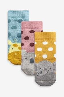 Animal Faces 3 Pack Towelling Socks (Newborn)