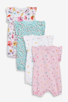 Bright Prints 4 Pack Rompers (0mths-3yrs)