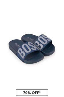 Boss Kidswear Boys Navy Logo Sliders