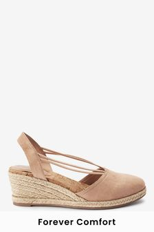 Sand Closed Toe Espadrille Low Wedge Sandals