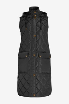 Black Quilted Longline Gilet