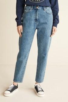 Mid Blue Elasticated Waist Mom Jeans
