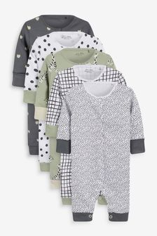 Mint/Monochrome 5 Pack Printed Sleepsuits (0-3yrs)