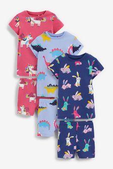 Blue 3 Pack Unicorn Dino Pyjamas