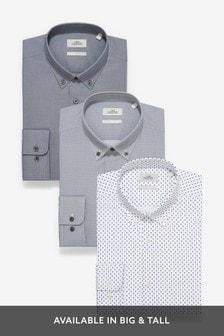 Grey Texture And Print Shirts Three Pack