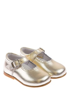 Andanines Girls Metallic Gold Scalloped Edge Mary Jane Shoes