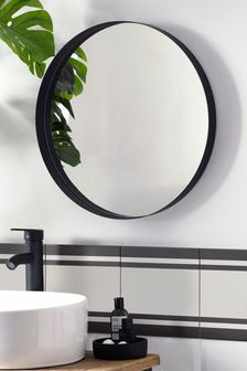 Black Black Round Wall Mirror