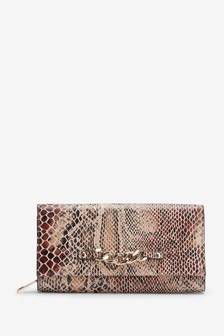 Snake Effect Chunky Chain Detail Large Purse