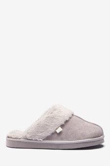 Pale Grey Suede Mule Slippers