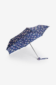 Navy Rainbow Print With Rainbow Handle Umbrella
