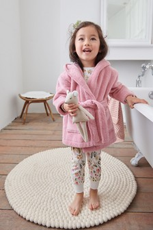 Pink Cotton Terry Towelling Bath Robe (9mths-12yrs)