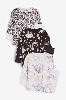 Monochrome 3 Pack Unicorn/Animal Cotton Snuggle Pyjamas (9mths-8yrs)