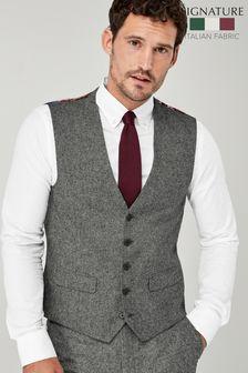 Grey Nova Fides Wool Blend Donegal Suit: Waistcoat